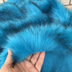 Blue faux fur fabric