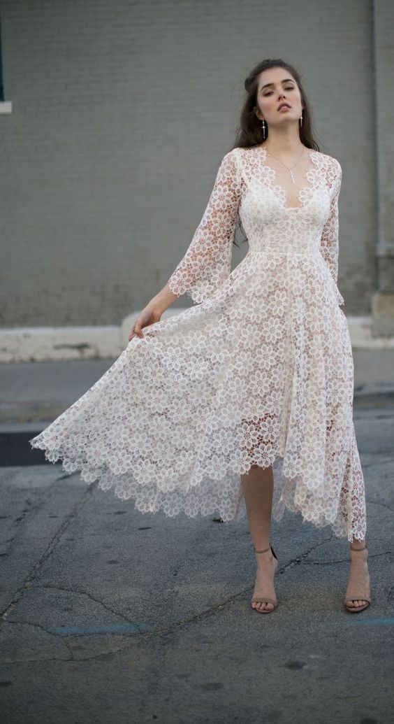 Woman in the white lace dress