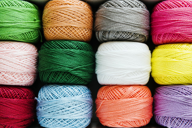 Woolen sewing threads in various colors